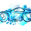 Stock Vector: Car made of splashes. Car wash concept.