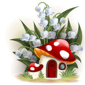 Lily of the valley and mushroom house — Stock Vector