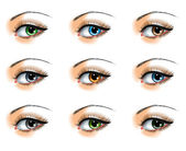 Nine different eye colors set — Stock Vector