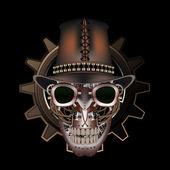 Steampunk skull wearing top hat — Stock Vector