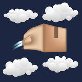 Fast package delivery concept. Box with jet engine. — Stock Vector