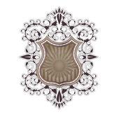Ornate shield label design template — Stock Vector