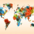 Grunge colorful world map — Vecteur #38604619