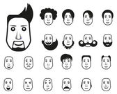 Male icons set with different hairstyle and emotions — Stockvector