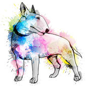 Bull terrier grunge illustration — Stock Vector