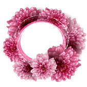 Round floral frame made of peony flowers — Cтоковый вектор