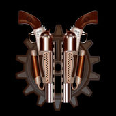 Two steampunk revolvers — Stock Vector