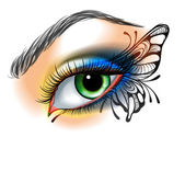 Eye make up with butterfly — Stock Vector