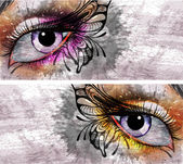 Eye make up with butterfly grunge background — Stock Vector