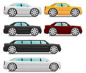 Kreslená auta s velkými koly sada sedan a limuzína — Stock vektor