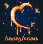 Honey moon concept. Heartshaped halfmoon made of honey — Stock Vector