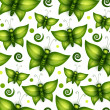 Stock Vector: Butterfly made of green leaves seamless pattern