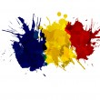 Romanian flag made of colorful splashes — Stock Vector