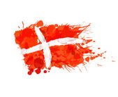 Kingdom of Denmark flag made of colorful splashes — Stock Vector