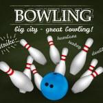 Bowl and bowling pins. Bowling poster. — Stock Vector #43139623