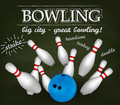Bowl and bowling pins. Bowling poster. — 图库矢量图片