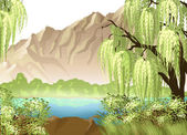 Idyllic landscape with willow and mountain — Stock Vector