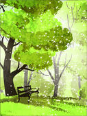 Park. Trees and bench — Stock Vector
