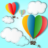 Cartoon background with heart shaped balloons and clouds — Stockvektor