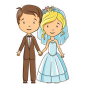 Cartoon style bride and groom holding hands — Vector de stock