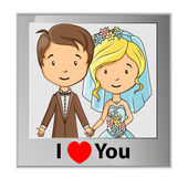 Cartoon groom and bride photo card — Stock Vector