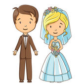 Cartoon style bride and groom — Stock vektor