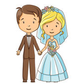 Cartoon groom and bride — Stock vektor