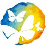 Butterflies in watercolor circle — Stock Vector #47576867