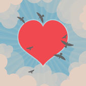 Birds flying around heart in the sky — Stock Vector