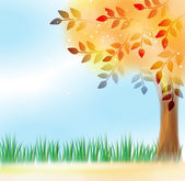 Tree with yellow leaves in front of sky — Stock Vector