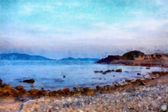 Playa de acuarela — Foto de Stock