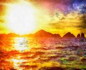 Beautiful sunset on the sea — Stock Photo