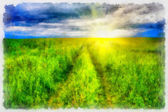 Sunny rural landscape with styled frame — Stock Photo