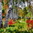 Digital structure of painting. Autumn forest — Stock Photo #32899249