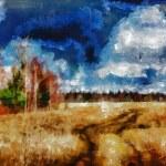 デジタルな絵画の構造。秋のフィールド — ストック写真