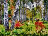 Digital structure of painting. Autumn forest — Stock Photo