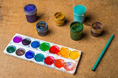 Set of cans of paint and pencil — Stock Photo