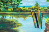 Pastel potloden op de foto — Stockfoto