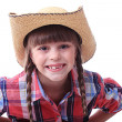 Close portrait of a cowgirl — Stock Photo