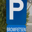 Road sign Parking for mopeds. Ostend, Belgium - Stock Photo