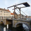 Wooden drawbridge Duinenbrug. Bruges, Belgium - Stock Photo
