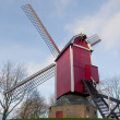Nieuwe Papegaai Bosmolen windmill. Bruges, Belgium - Stock Photo