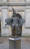 Estátua de papageno, em bruges, Bélgica — Fotografia Stock