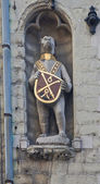 Bear with coat of arms. Poortersloge building. Bruges, Belgium — Stock Photo