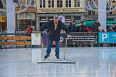 Cleaning of ice rink — Stock Photo