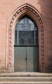 Entrance of Evangelical church (1864) in Offenburg, Germany — Stock Photo