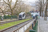 Funicular on Montmartre hill, Paris — Stock Photo
