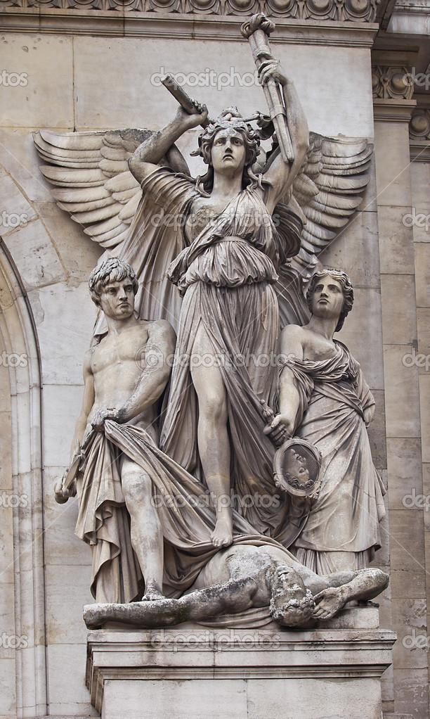 Sculpture lyrical drama of garnier opera — stock