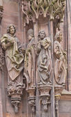 Sculpture of St Laurent with followers. Strasbourg Cathedral — Stock Photo