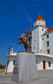 Equestrian statue of Svatopluk I in Bratislava Castle — Stock Photo